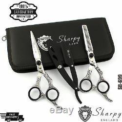 0New Hairdressing Pro Salon Hair Scissors Thinning Hair Cutting Scissors 6 Set