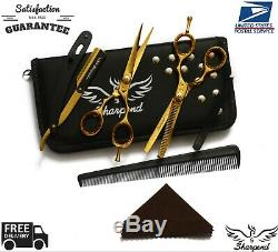 5.5 Gold Professional Salon Hair Cutting Scissors Thinner Barber Shears Razor