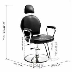 Black Hydraulic Recline Barber Salon Chair Styling for Pro Hair Cut Beauty Spa +