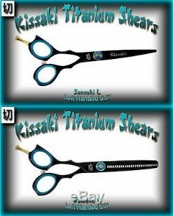 Kissaki Left Hand Pro Hair Shears 5.5 & 26t Black B Salon Barber Scissors Combo