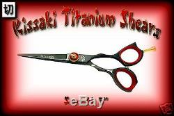 Kissaki Pro 5.0 Sensuki Black Red Hair Cutting Scissors Salon Barbers Shears