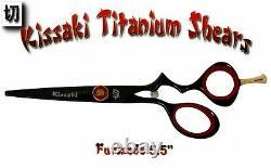 Kissaki Pro 5.5 Furisode Black Titanium Hair Cutting Scissors Salon Hair Shears