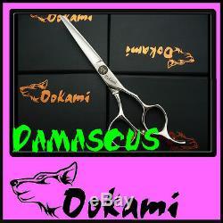 Ookami 5.5 Pro Hairdressing Scissors Hair Shears Salon D-55 Damascus Steel