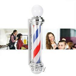 Pro Barber Pole LED Rotating Light Hair Salon Sign Red White Blue Stripes Lamp