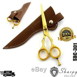 Professional Gold Salon Hair Cutting Hairdressing Scissors Barber Shears 5.5