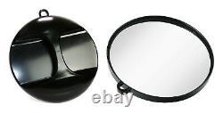 Round Mirror Black Professional Barber Shop Salon Hair Beauty Hairdresser Mirror