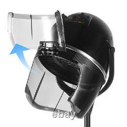Salon Professional Hair Dryer Stand Bonnet Hood Adjustable Heating Timer Wheels