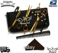 5.5 Or Professionnel Salon De Coiffure Coupe Ciseaux Diluant Barber Ciseaux Razor