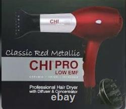 Chi Classic Red Metallic Salon Hair Dryer /blow Dryer Nouveau