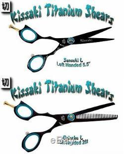 Kissaki Gauche Cisailles Pro Cheveux Main 5.5 Et 26t Noir B Salon Barber Ciseaux Combo