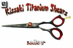 Kissaki Pro 5.0 Couper Les Cheveux Rouge Sensuki Noir Ciseaux Salon Barbiers Ciseaux