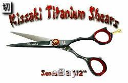 Kissaki Pro 5.5 Coupe Sensuki Noir Rouge Cheveux Ciseaux Salon Barbiers Ciseaux