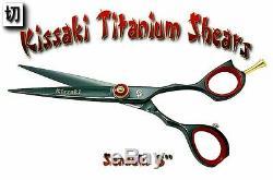 Kissaki Pro 6.0 Coupe Sensuki Noir Rouge Cheveux Ciseaux Salon Barbiers Ciseaux