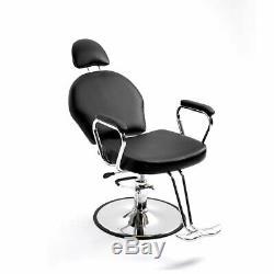 Noir Hydraulique Barber Salon Recline Chaise De Coiffure Beauty Cut Pro Hair Spa +