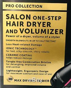 Revlon Pro Collection Salon One Step Sèche-cheveux Et Volumizer Brosse Noir / Rose Nouveau