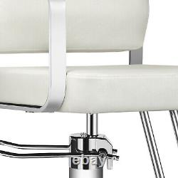 White Pro Classic Barber Chair Hydraulic Salon Spa Beauty Hair Stylist Withcover